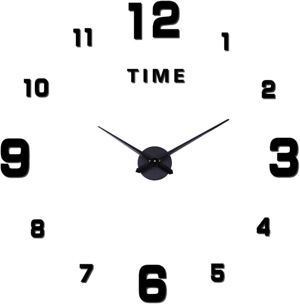 SHS Mute DIY Reloj de Pared con Adhesivo 3D, Sin Marco, Tamaño Grande, Para Decorar La Oficina o Casa,Plateado-2 Años de Garantía