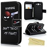 Galaxy S3 Wallet Case - Mavis's Diary® Black Case Funny Don't Touch My Phone Premium PU Leather with Strap Card Holder Magnetic Flip Cover Stand Case for Samsung Galaxy S3 I9300 (Gun)