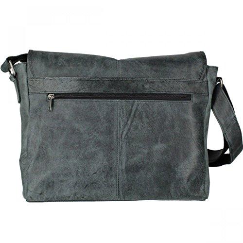 Urban Forest Leder Messengerbag A4 schwarz