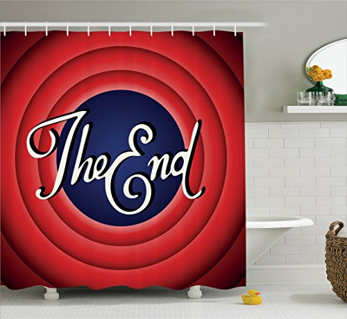 Ambesonne 1950s Decor Collection, Movie Ending Screen Academy Dated Broadcast Entertainment Show Oscar Cinema Frame Image, Polyester Fabric Bathroom Shower Curtain, 84 Inches Extra Long, Red Navy by Ambesonne