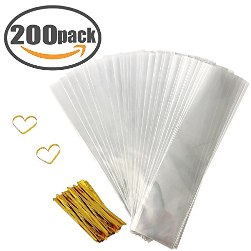 Cellophane Bag 200 PCS Clear Cello Treat Bags Party Favor Bags for Gift Bakery Cookies Candies Dessert with 200 PCS Metallic Twist Ties (2.4