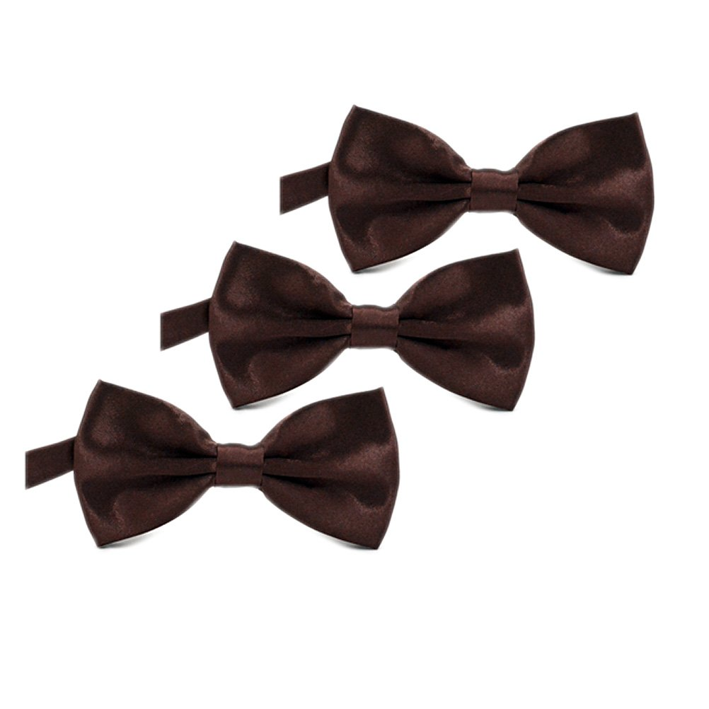 IvyFlair 3-Pack Pre Tied Adjustable Satin Formal Tuxedo Solid Bowties Bow Tie Brown LJG801BRO