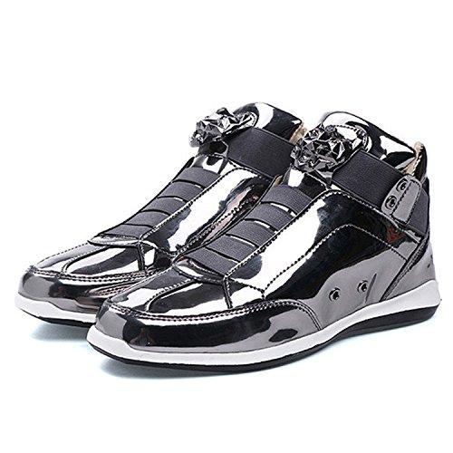 - RAINSTAR Mens Bright Surface High Top Fashion Sneaker Casual Slipper Club Shoe Silver 10