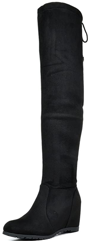 DREAM PAIRS LEGGY Women's Stretchy Faux Suede Fashion Multi-Wear Over The Knee Low Hidden Wedge Heel Thigh High Boots BLACK SIZE 7.5