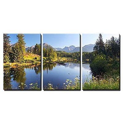 Natural Mountain Scene Wall Decor x3 Panels - Canvas Art