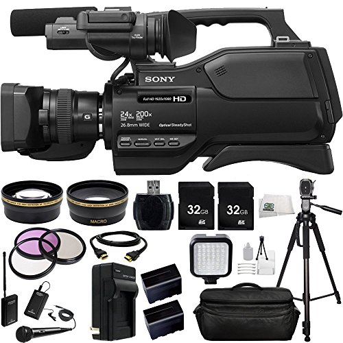Sony HXR-MC2500 HXRMC2500 Shoulder Mount AVCHD Camcorder with 3-Inch LCD (Black) + Audio-Technica ATR288W VHF TwinMic System, .43x Wide Angle Lens, 2.2x Telephoto Lens + MORE by SSE