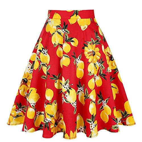 d't midi Femme Plus Jupe Skater imprim Jupes s Taille Taille Lemon Floral Jupes Femmes d't Pois Dames Red Haute 50 Noire Vintage fgqwfO