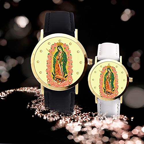 lightclub Christian Virgin Mary Flower Round Dial Faux Leather Strap Women Wristwatch - Black by lightclub (Image #3)