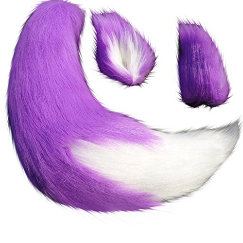 Anime Spice and Wolf Holo Kamisama Kiss Fox/Cat Plush Tail Ears Prop Cosplay (Purple)