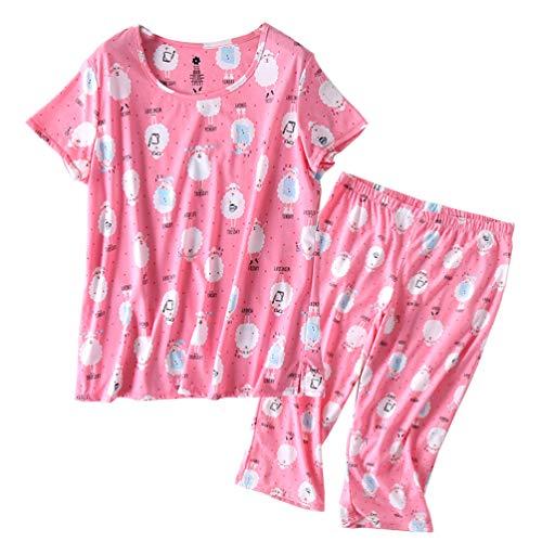 ENJOYNIGHT Women's Sleepwear Tops with Capri Pants Pajama Sets (Sheep, Medium)]()
