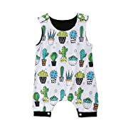 YAZAD Toddler Newborn Infant Baby Boys Onesies Cute Cactus Pattern Sleeveless Bodysuit Romper Jumpsuit Summer Outfit (80/6-12M, White)