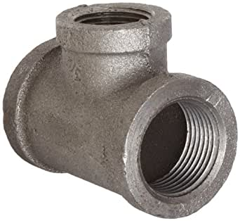 """Anvil 8700121505 Malleable Iron Pipe Fitting, Reducing Tee, 3/4"""" x 1/2"""" x 1/2"""" NPT Female, Black Finish"""