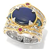Michael Valitutti Palladium Silver Ammolite, London Blue Topaz and Ruby Cocktail Ring