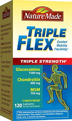 Nature Made TripleFlex Triple Strength Caplet (Glucosamine Chondroitin MSM) Value Size 120 (Caplets Glucosamine)