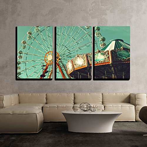 (wall26 - 3 Piece Canvas Wall Art - Ferris Wheel and Flying Chairs - Modern Home Decor Stretched and Framed Ready to Hang - 24