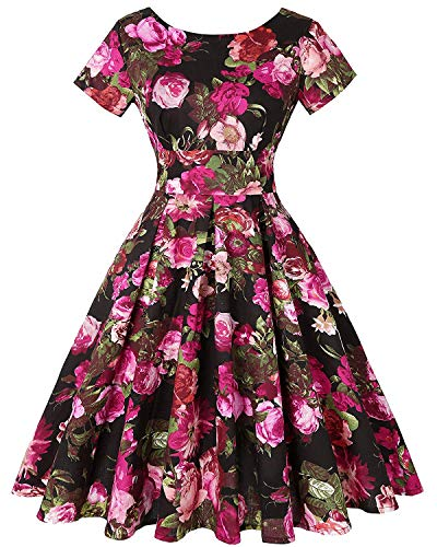 MINT LIMIT Womens Dresses Short Sleeve Party Dresses 1950s Vintage Dresses Swing Dress (Floral Fuchsia,Size M)