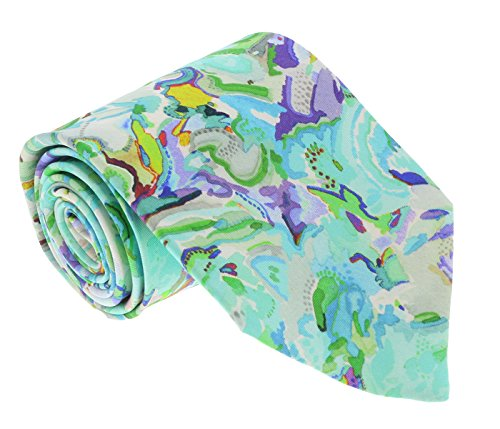 - Missoni U1977 Green/Yellow Floral 100% Silk Tie for mens