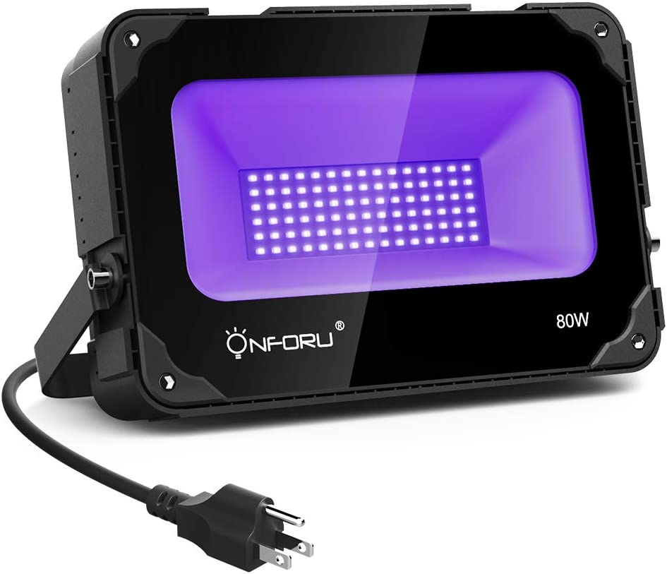 Onforu 80W UV LED Black Light with Cooling Fan, UV Flood Light with Plug for Dance Party, Stage Lighting, Glow in The Dark, Aquarium, Body Paint, Fluorescent Poster, Neon Glow
