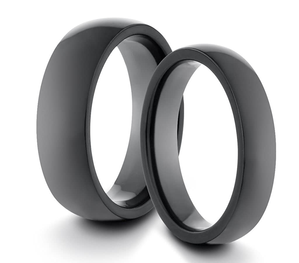 Available Sizes 4-11 Including Half Sizes His /& Hers 6mm//4mm Titanium Polished Black Classic Styled Comfort Fit Wedding Band Ring Set