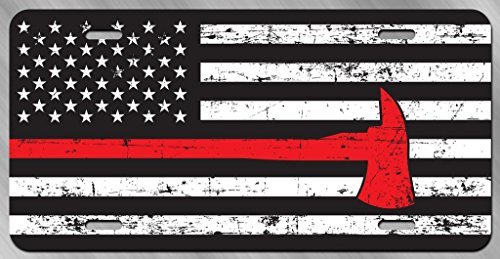 JMM Industries Thin Red Line Distressed Flag with Axe Vanity Novelty License Plate Tag Metal Car Truck 12-Inches by 6-Inches UV Resistant Print UVP088 ()