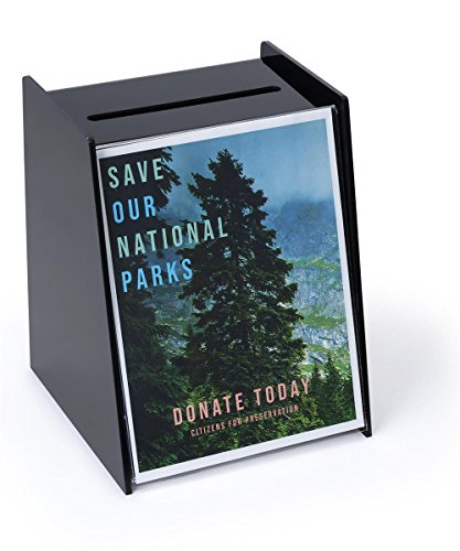 Displays2go Acrylic Ballot Box with Holder for 8.5 by 11 Inches Sign - Black (RB)