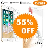 iphone 8 screen protector tempered glass, iPhone 8 iphone 7 iphone 6 iphone 6s Glass Screen Protector, NeWisdom [2-PACK] [Case Friendly] [Anti shock] Tempered Glass Screen Protector
