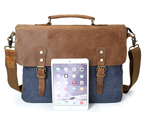Crossbody Loco Laptop De Retro Blue Bolsa Horseskin Hombro Bag Canvas qYawPxp