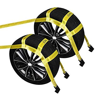 """JCHL Tow Dolly Basket Straps with Flat Hooks (2 Pack) Yellow Car Wheel Straps Universal Vehicle Tow Dolly Straps System Fits 15""""-19"""" Tires Wheels 10000 lbs Working Capacity: Home Improvement"""