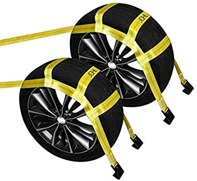 Amazon Com Jchl Tow Dolly Basket Straps With Flat Hooks 2 Pack Yellow Car Wheel Straps Universal Vehicle Tow Dolly Straps System Fits 15 19 Tires Wheels 10000 Lbs Working Capacity Home Improvement