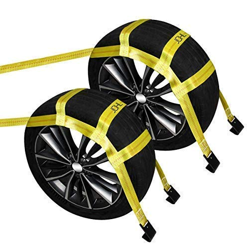 "JCHL Tow Dolly Basket Straps with Flat Hooks (2 Pack) Yellow Car Wheel Straps Universal Vehicle Tow Dolly Straps System Fits 15""-19"" Tires Wheels 10000 lbs Working Capacity"