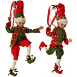 Elves Christmas Decorations - Red and Green Holly