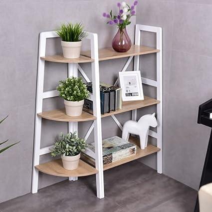 Giantex 2 Pcs 3 Tier Corner Bookshelf And Ladder Bookcase Set Wall Stand Holder Organizer