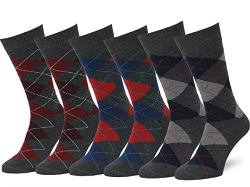 Easton Marlowe Men's Classic Cotton Argyle Dress Socks - 6pk #2-8, Charcoal & Reds/Blues - 39-42 EU shoe size