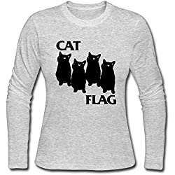 CHSMGS Women's Cat Long Sleeve Tshirts Gifts 100% Cotton