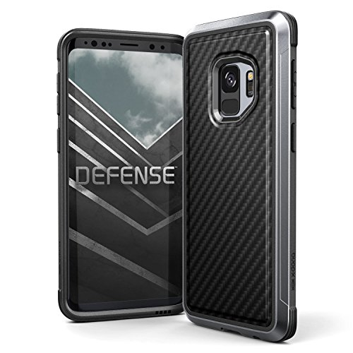Galaxy S9 Case, X-Doria Defense Lux Premium Protective Aluminum Frame Thin Design Shockproof Slim Case for Samsung Galaxy S9, Black Carbon Fiber
