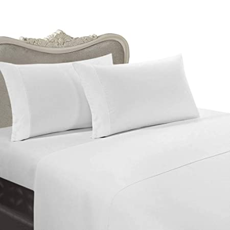 Beautiful 1000 Thread Count Egyptian Cotton 4Pc Bed Sheet Set, King, White Solid