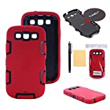 TIANLI(TM) Robot Armor Defender Case Fit For Samsung Galaxy S3 I9300+[Screen Protecot]+[Free Stylus]+[Cleaning Cloth] Red BlacK