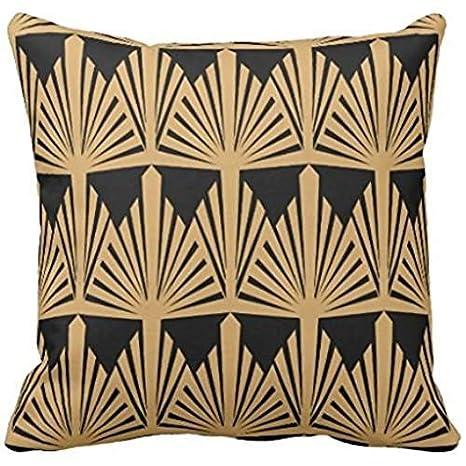 Amazon.com: Oro y Negro Art Deco Pattern Throw funda de ...