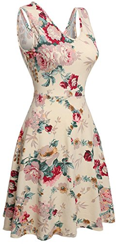 SimpleFun Casual Floral Sleeveless Dresses