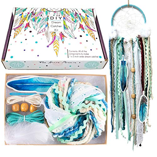 DIY Dream Catcher Kit Blue Arts and Crafts Kits Make Your Own Dreamcatcher Stocking Stuffer Christmas Gift for Kids from The House Phoenix