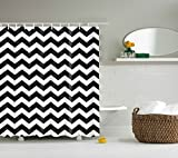 "DOTZ Polyester Chevron Shower Curtain - Black and White Zig Zag Pattern - Package Includes 12 White Easy-Glide Roller Shower Hooks - Fits 180cm x 180 cm 70"" x 70"""