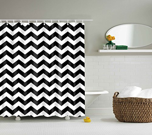 DOTZ Chevron Shower Curtain - Black and White Polyester Fabric - 70 inch x 70 inch, includes 12 plastic shower rings (Zebra Print Laundry Basket)