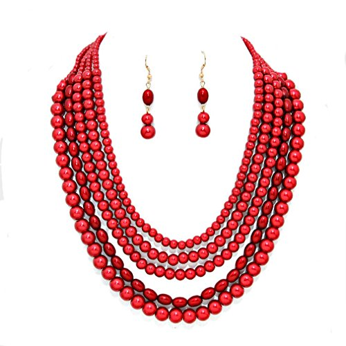 Affordable wedding jewelry, Esmor Uniklook Statement Beaded Layered Strands Red Pearl Beads Gold Chain Necklace Earrings Set Gift Bijoux