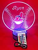 Indians MLB Light Up Lamp LED Personalized Free Cleveland Baseball Light Up Light Lamp LED Table Lamp, Our Newest Feature - It's WOW, With Remote, 16 Color Options, Dimmer, Free Engraved, Great Gift