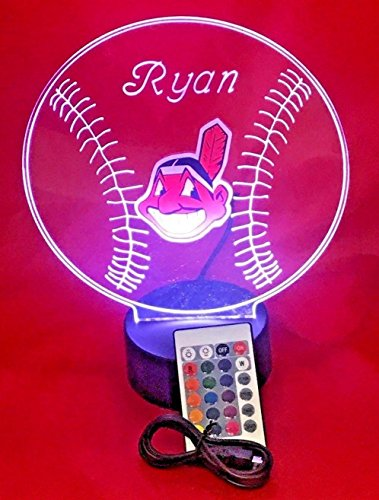 Indians MLB Light Up Lamp LED Personalized Free Cleveland Baseball Light Up Light Lamp LED Table Lamp, Our Newest Feature - It's WOW, With Remote, 16 Color Options, Dimmer, Free (Cleveland Indians Night Light)
