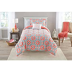Amazon Com Mainstays Coral Medallion Bed In A Bag