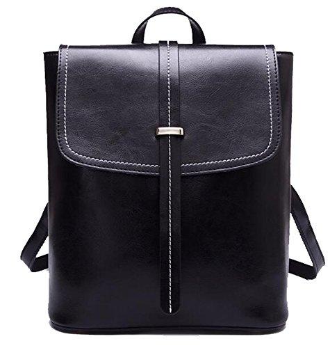 Bag Yan pocket Multi Oil Shoulder Retro Women's Show Wax Backpack Black q8xYwTrq4