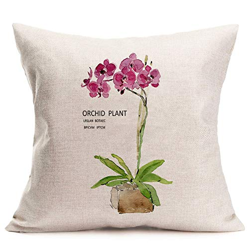 Asminifor Pillow Covers Orchid Plant Printed Spring Floral Decorative Pillow Case Home Decor Square 18 x 18 Inches Throw Pillowcase (Orchid Plant) ()