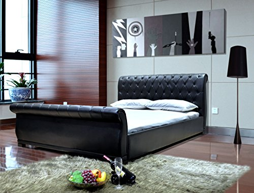 Queen Leather Sleigh - Greatime B1175QQBK Upholstered Sleigh Bed, Queen, Black