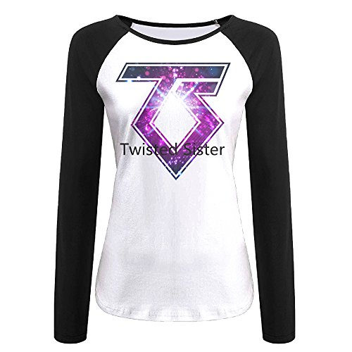 Women's Twisted Sister Logo Long Sleeve Screw Neck Athletic Baseball Tee Raglan T-Shirt Black US Size L -